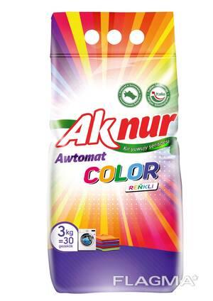 Стиральный порошок Ак нур Колор в упаковках по 3 кг. , 6 кг. , 9 кг.